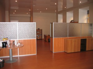 Офисная перегородка анодировка ДСП стекло