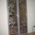 Раздвижная дверь с зеркальным покрытием и рисунком «Сакура»