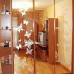 Шкаф-купе с бабочками на зеркальных дверях